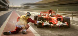 Formule 1 sur la piste en pleine course.
