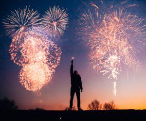 feu d'artifice à Monaco pour la nouvelle année.